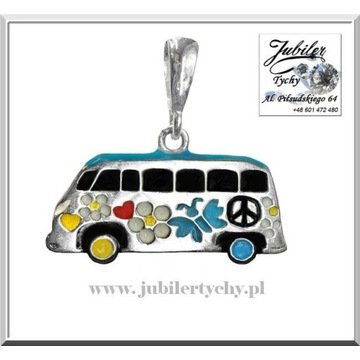 Srebrny wisiorek emaliowany VW T2 - Dzieci Kwiatów
