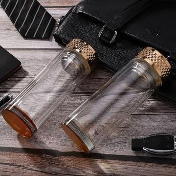 Luksusowy szklany bidon do napojów z filtrem