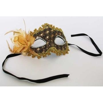 Złota Maska Karnawałowa z Kwiatem wenecka