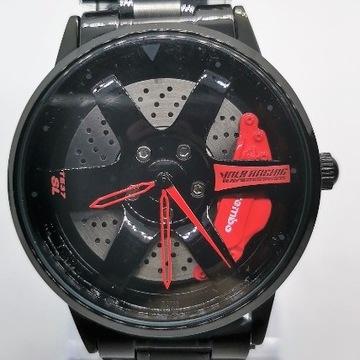 Męski zegarek felga 3D czarny