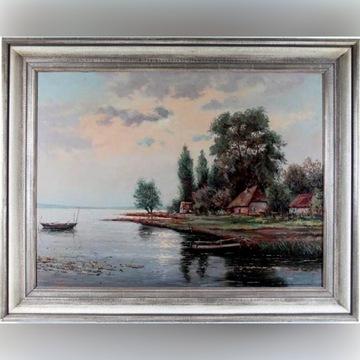 Murowana - Przystań rybacka - olej 96x76cm
