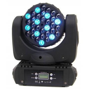 Ruchome Głowy Wash FLASH LED 36x3W RGBW 8* + FILTR