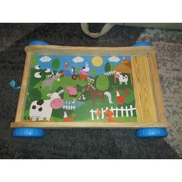 Wózek drewniany dla dziecka dla lalek pchacz