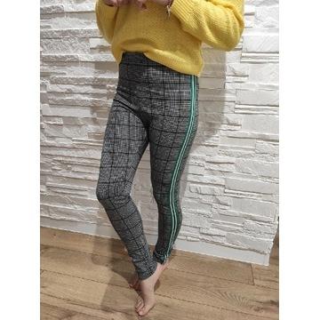 Spodnie legginsy czarno białe lampasy S H&M