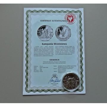MEDAL KAMPANIA WRZEŚNIOWA WRZESIEŃ 39 SREBRO