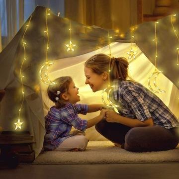 Lampki LED 2,5m GIRLANDA ŚWIĘTA KSIĘŻYC GWIAZDY