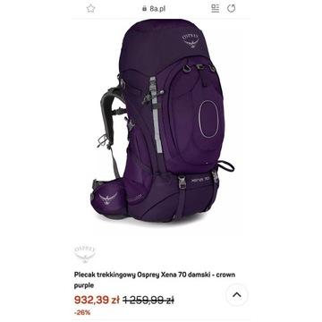 Plecak OSPREY XENA 70 nowy z metkami crown purple