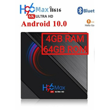 Smart TV BOX. H96 MAX 4/64GB. Android 10