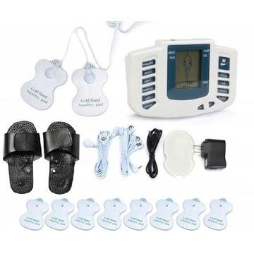 Elektrostymulator masażer mięśni TENS EMS + klapki