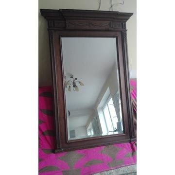 Duże lustro antyczne z dębową ramą