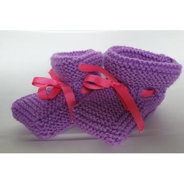 rękodzieło - buciki dekoracyjne dla niemowlaka