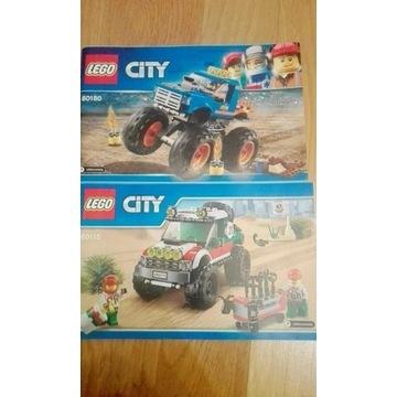 LEGO City pojazdy-terenówka 60115 i 60180 monster