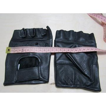 Skórzane rękawice bezpalcy roz.M