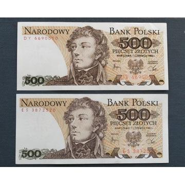 BANKNOTY 500 ZŁOTYCH, PRL, 1982, SERIA ES i DY