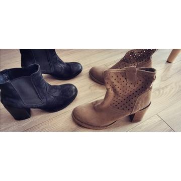 2 pary butów na obcasie 37 słupek botki