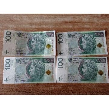 Banknoty 100 zł 4 szt. numery po kolei DW ciekawe