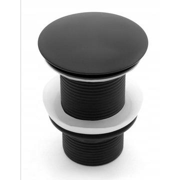 Klik Klak czarny matowy z przelewem