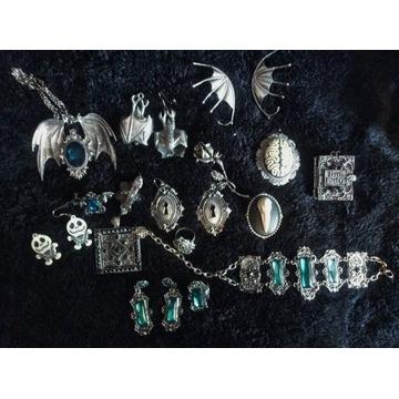 Gotycka, wiktoriańska biżuteria, wyprzedaż, zestaw