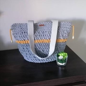 Torba Shopperka ręcznie pleciona sznurkiem bawełni