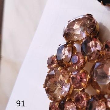Biżuteria #91 Broszka Szkło Kolor Różowy Topaz