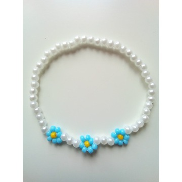 Bransoletka z koralików w kwiatki handmade