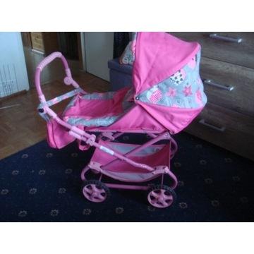 Różowy wózek dla lalki 2 w 1