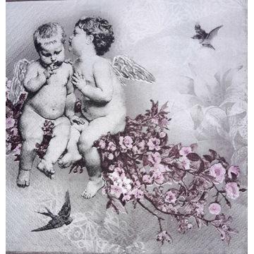 Serwetka decoupage 2 szt, amorki, aniołki retro