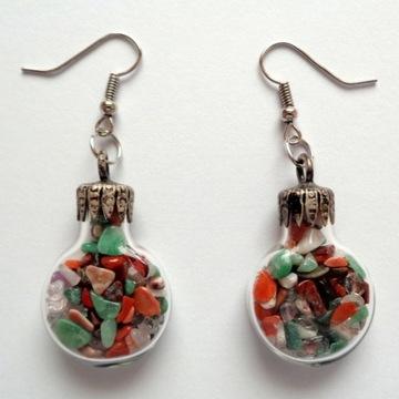 Kolczyki posrebrzane szklane małe kamienie butelki