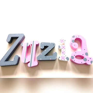 literki dla dzieci 3d imię 20 cm + 3dekory gratis