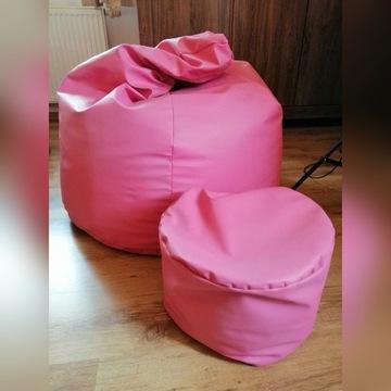 Pufa worek OVERSIZE XXL plus podnóżek różowe