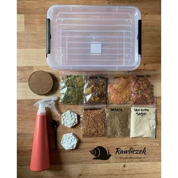 Jedzenie dla ślimaka, pojemnik box, zestaw