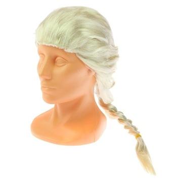 ZŁOTA BLOND blondynka PERUKA Z WARKOCZEM frozen