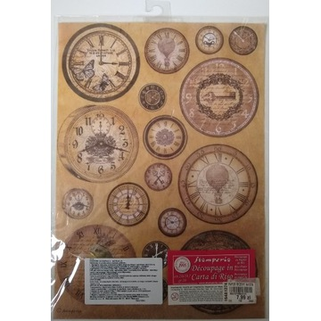 Papier ryżowy Stamperia A4 zegary motyle balony