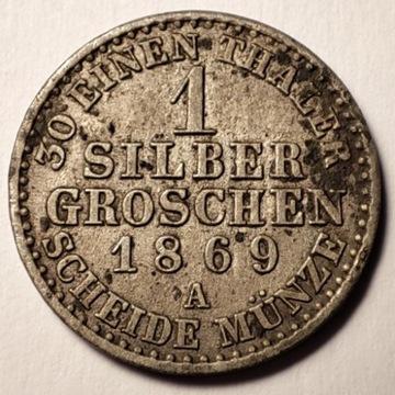 1 silber groschen 1869 A Srebro Ag