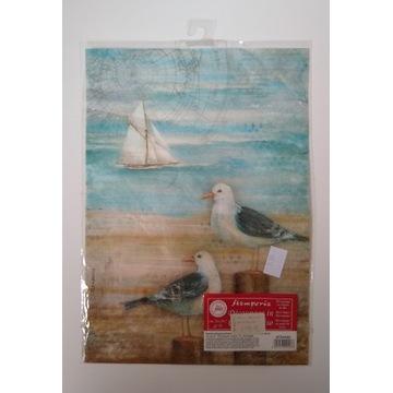 Papier ryżowy Stamperia A4 morze mewy żaglowiec