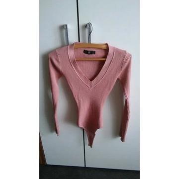 Piękne obcisłe body r XS pudrowy róż piękna bluzka