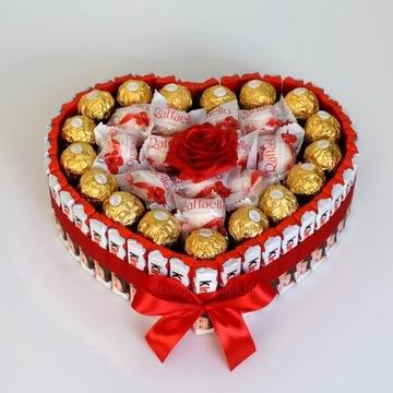 Serce z czekoladek Kinder i Raffaello i Rocher