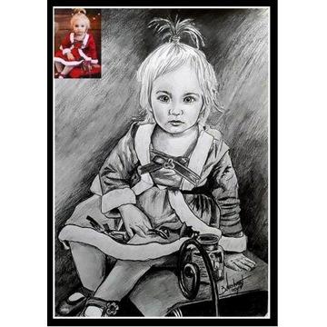 Portrety, karykatury i obrazy olejne.