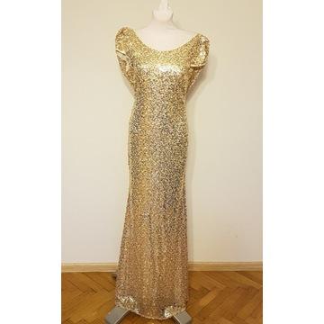 Suknia cekinowa maxi 38 złota