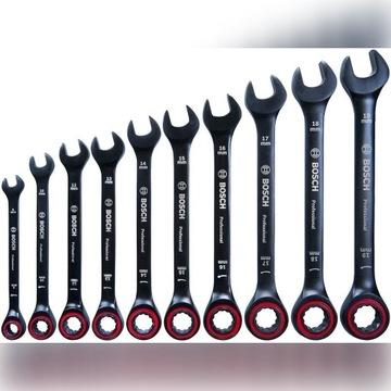 Zestaw kluczy płasko-oczkowych z grzechotką Bosch