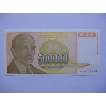 Jugosławia - 500000 Dinara - 1994 - P143 - St.1
