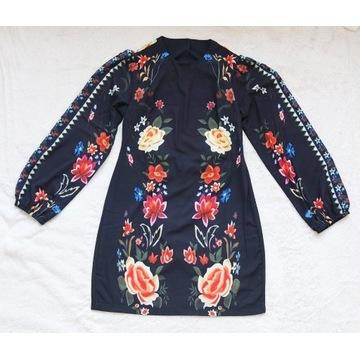 Sukienka folk folklor kwiaty krótka tunika nowa