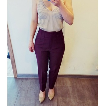 Spodnie z wysokim stanem Zara fioletowe r. S