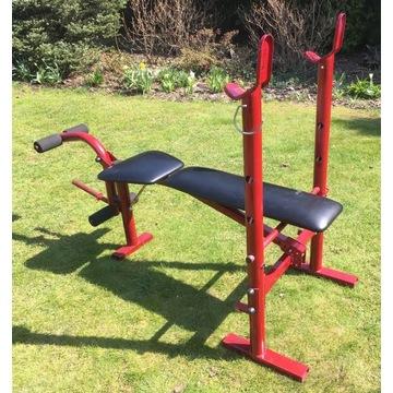 Rozkładana ławka do ćwiczeń/treningowa, stojaki