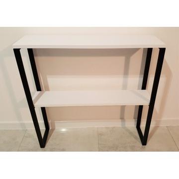 Konsola z półką biały czarny mat 80x20 loft