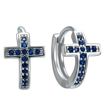 Kolczyki kółka krzyżyk diamenciki srebrne