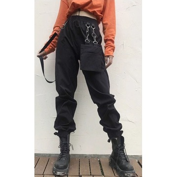 Odzież Gotycka Spodnie Gotyckie Cargo Pants L
