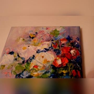 Obraz olej na płutnie sygnowany kwiaty