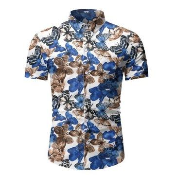 Koszula męska LATO krótki rękaw motyle wakacje L