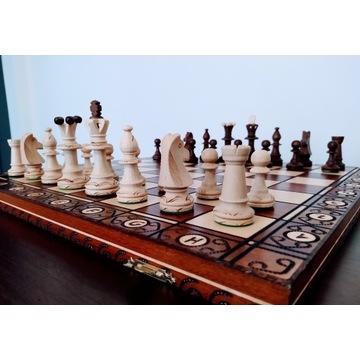 Duże drewniane ręcznie wykonane szachy 47cm x 47cm